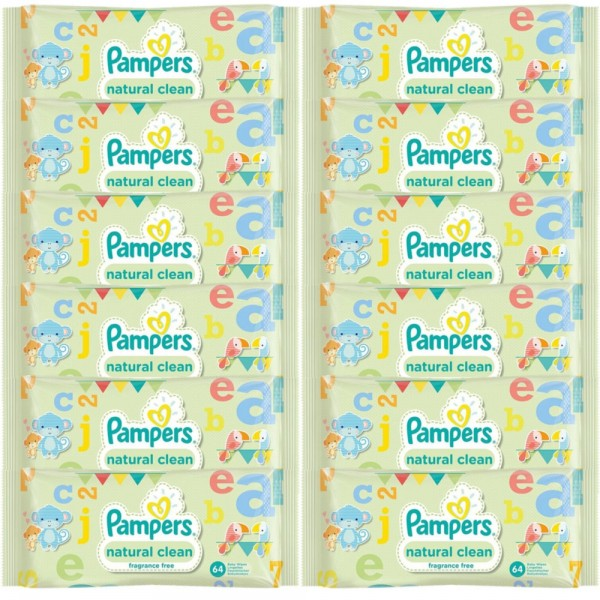 PAMPERS Natural clean chusteczki 12x64