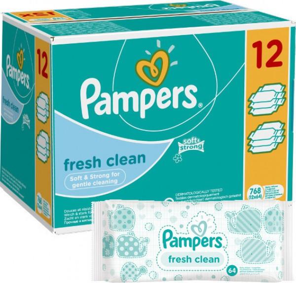 PAMPERS Fresh Clean 12x64sztuki