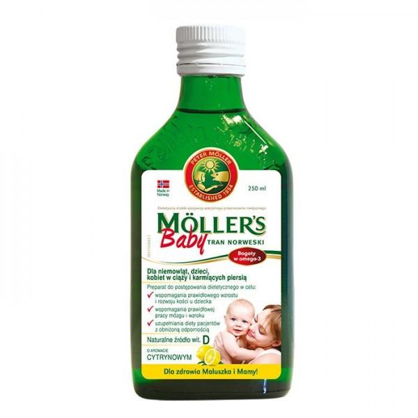 Moller's Baby Tran Norweski o aromacie cytrynowym 250ml